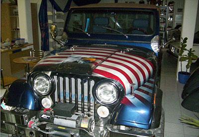 Airbrush Auto Amerika Flagge Adler